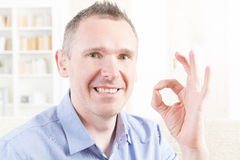 Deaf man using sign language Royalty Free Stock Image