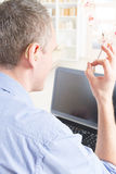 Deaf man using sign language Stock Photo