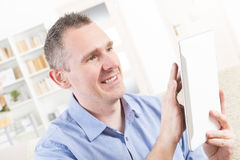 Deaf man using tablet Stock Photo