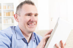 Deaf man using tablet Stock Photography