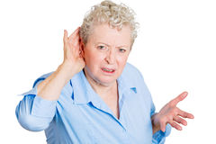 Deaf old lady Royalty Free Stock Images