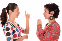 Deaf persons hand demonstrating. Over a white background Stock Photo