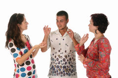 Deaf persons hand demonstrating. Over a white background Stock Image