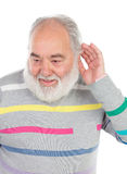 Deaf senior man with beard. Isolated on a white background royalty free stock photography