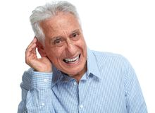 Deaf senior man. Royalty Free Stock Image
