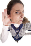 Deafness. A woman making the gesture of not listening Stock Image