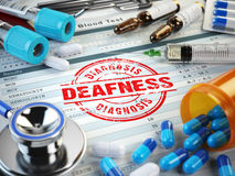 Deafness disease diagnosis. Stamp, stethoscope, syringe Royalty Free Stock Image
