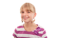 Deafness - Take it easy. Girl joking with hearing aids using them as earrings. Isolated on white Stock Images