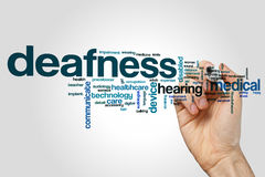 Deafness word cloud. Concept on grey background Stock Photo