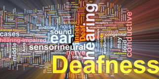 Deafness word cloud glowing Stock Image
