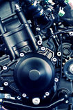 Deails of a sport motorcycle engine. Great details of a 640cc motorcycle engine (close-up Royalty Free Stock Image
