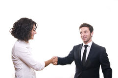 Deal ?. Business team agreed and handshaking. Isolated on a white background royalty free stock photos
