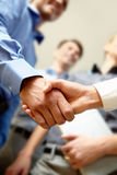 Deal. Image of business handshake after signing new contract Stock Photo