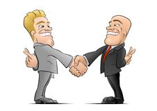 The Deal. Two business mans grasp one of each other's opposite hands and hide crossed fingers behind their backs Royalty Free Stock Images