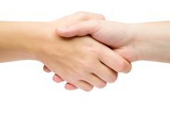 Deal. Handshake isolated on a white background Stock Photos