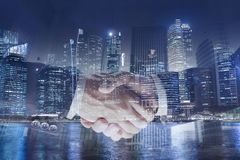 Collaboration business concept, handshake double exposure, cooperation or partnership