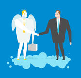 Deal with Angel. Businessman and cherub make deal in heavens. Ar Royalty Free Stock Images