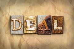Deal Concept Letterpress Theme Stock Image
