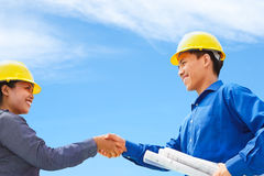 Deal on construction plan Stock Photos