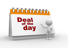 Deal of the day. 3d people - man, person present a empty calendar. Deal of the day Stock Photo