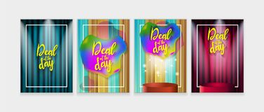 Deal of the day poster. Trendy set for your design. Applicable for Banners, Placards, Posters and Flyers. Stock Images