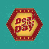 Deal of the day - retro label. Deal of the day - retro style hexagon label with text and stars, business concept Stock Images