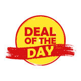 Deal of the day, yellow and orange round drawn label Stock Photo
