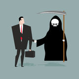 Deal with death. Businessman and Grim Reaper make transaction. S Royalty Free Stock Photos