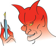 Deal With The Devil. Devil holding a pen for someone getting ready to sell their soul Royalty Free Stock Photo