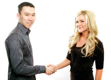 Deal is done. Business partners are shaking hands on a deal royalty free stock photography