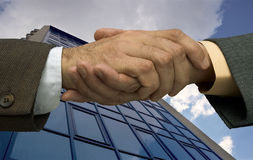 Deal is done. Two businessmen handshaking ,made from my images Stock Photo