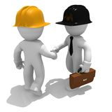 Deal done. Architect and construction worker shaking hands, 3d image Stock Photos