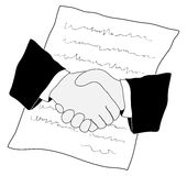 Deal handshake. Drawing of handshake and contract Stock Photo