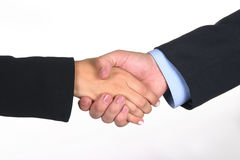Deal I. Business people hands shake to close a deal Stock Photography