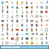 100 deal icons set, cartoon style. 100 deal icons set in cartoon style for any design vector illustration Royalty Free Stock Photography