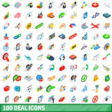 100 deal icons set, isometric 3d style Royalty Free Stock Photo