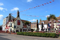 Deal Kent England. View of beautiful decorated Beach street in Deal.Deal is a town in Kent, England a seaside resort, its quaint streets and houses are a Stock Images