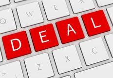 Deal keyboard concept 3d illustration. Deal keyboard  on white background 3d illustration Stock Photo