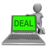 Deal Laptop Shows Bargain Contract Or Dealing Online Stock Photos
