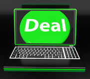 Deal Laptop Shows Contract Online Trade Deals Stock Photos
