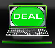 Deal Laptop Shows Online Trade Contract Or Dealing Stock Photography