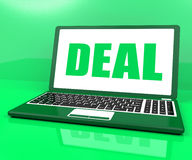 Deal Laptop Shows Trade Contract Or Dealing Online Royalty Free Stock Photography