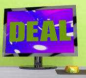 Deal Monitor Shows Trade Contract Or Dealing Royalty Free Stock Photos