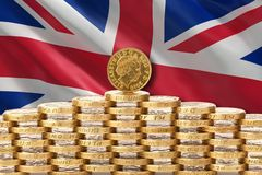 Deal or no deal brexit. UK Parliament edges towards Brexit deal. UK flag and coins stock photo