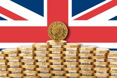Deal or no deal brexit. UK Parliament edges towards Brexit deal. UK flag and coins stock image