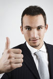 The deal is ok. Young businessman showing ok sign with his hand Stock Photo