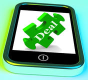 Deal Phone Shows Mobile Trade Deals Contract Royalty Free Stock Photo