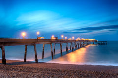 Deal Pier. Night time long exposure at the pier at Deal in Kent Royalty Free Stock Photo