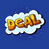 Deal pop art sign. Pop-art style vector illustration, Deal word as a sticker or label Royalty Free Stock Photography