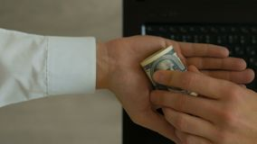 Deal of sale purchase corporate data on flash drive, buy secret info for money stock footage